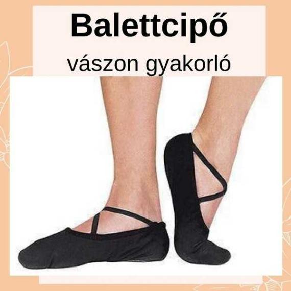 VBC1 Vászon balettcipő csepp talppal fekete színben