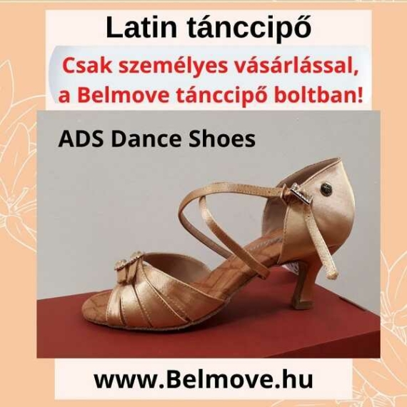LC1 ADS Dance Shoes Latin tánccipő állítható csattal, pezsgő színben
