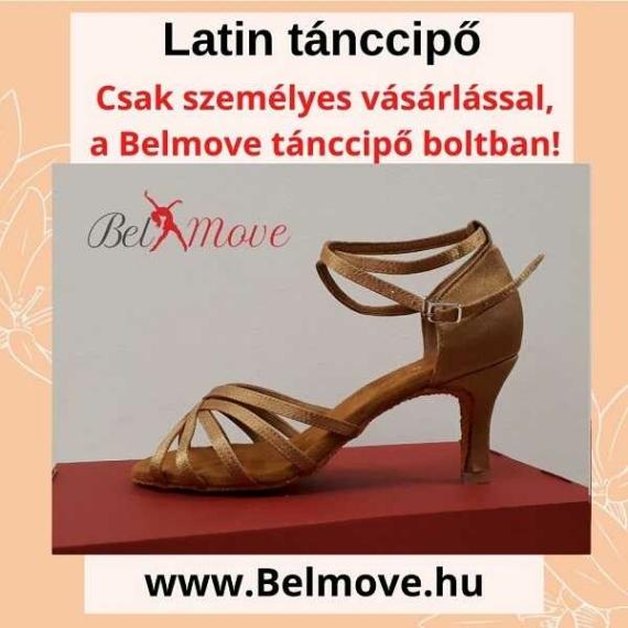 LC10 Belmove Latin cipő bokapántos beige színben