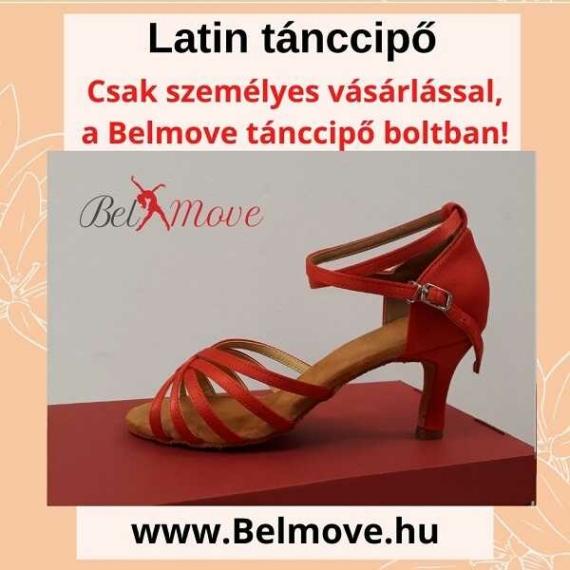 LC11 Belmove Latin tánccipő bokapántos piros színű
