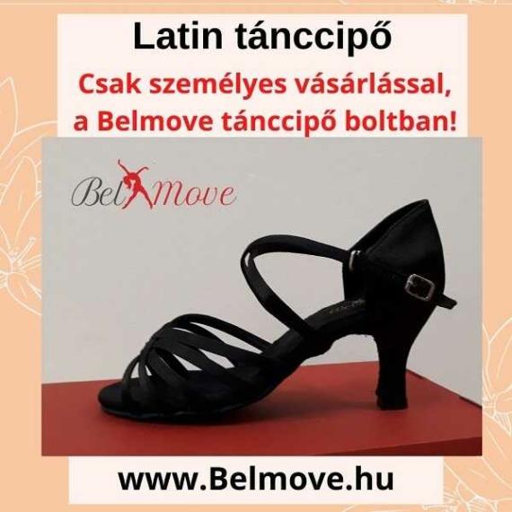 LC12 Belmove Latin cipő keresztpántos fekete színű