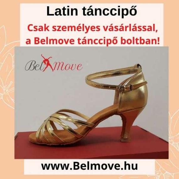 LC13 Belmove Latin tánccipő arany színben 7 cm-es sarokkal