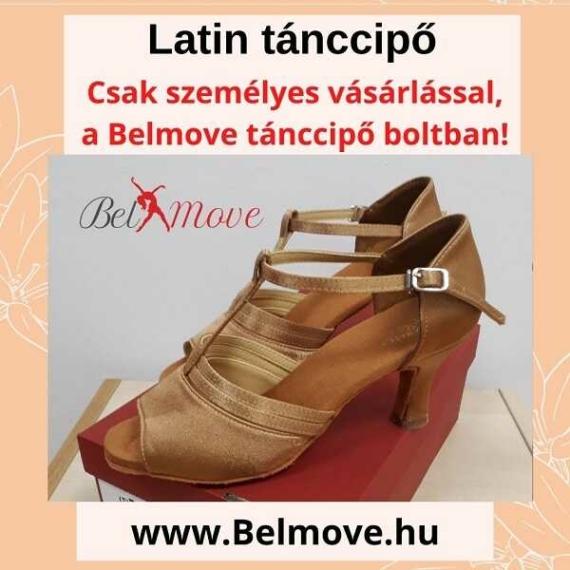 LC15 Belmove Latin tánccipő T pántos, beige színben