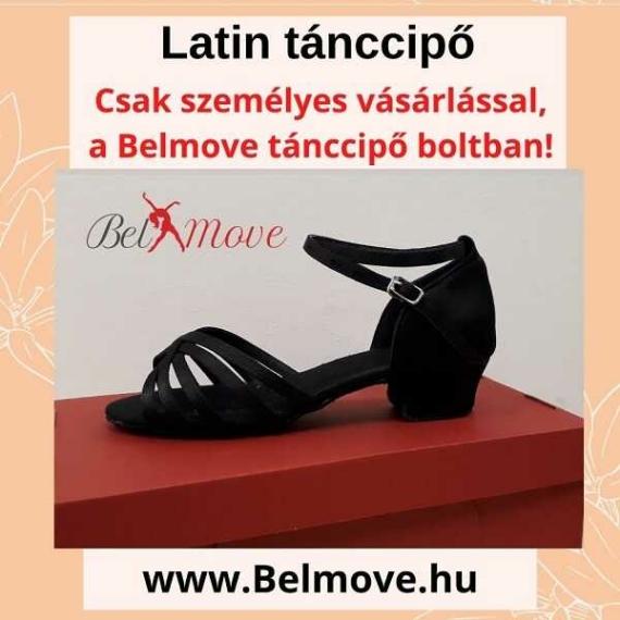 LC5 Belmove Latin tánccipő 3 cm-es sarokkal feketében