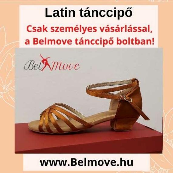 LC6 Belmove Latin cipő 3 cm-es sarokkal óarany színben