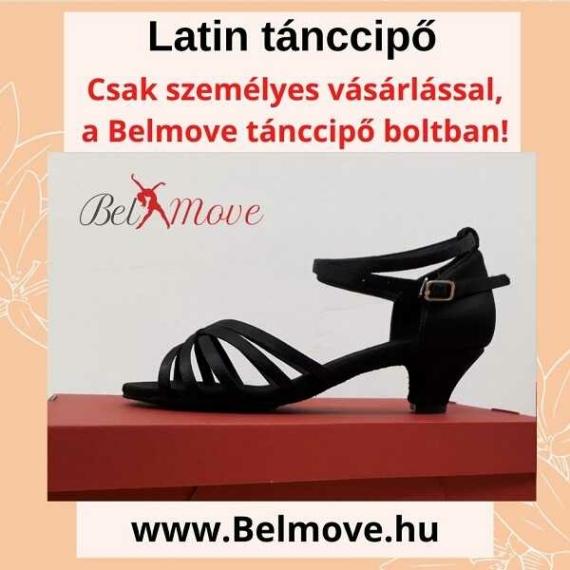 LC7 Belmove Latin tánccipő 4 cm-es sarokkal feketében