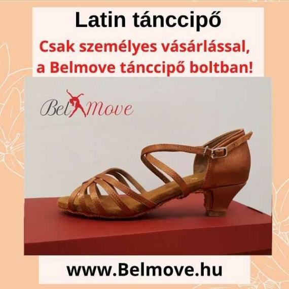 LC8 Belmove Latin cipő 4 cm-es sarokkal óarany színben
