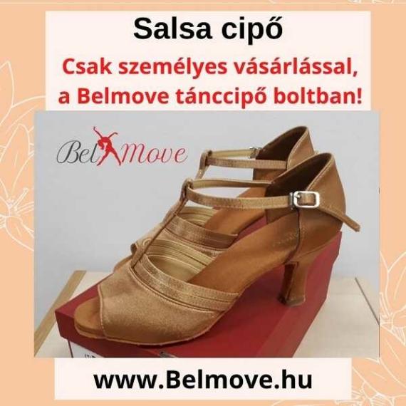 SC15 Belmove Salsa cipő T pántos, beige színben