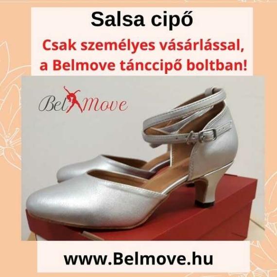 SC18 Belmove Salsa cipő ezüst színben, bokapánttal