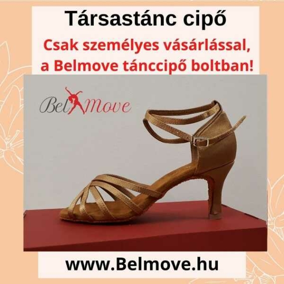 TC10 Belmove Társastánc cipő bokapántos beige színben