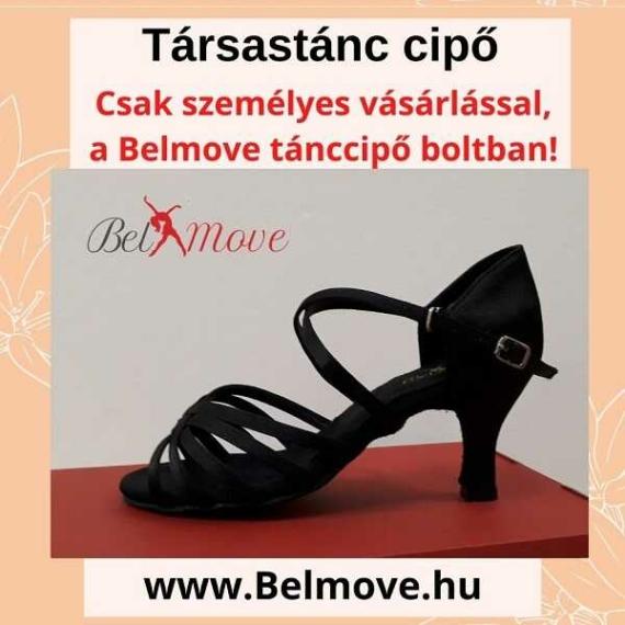 TC12 Belmove Társastánc cipő keresztpántos fekete színű