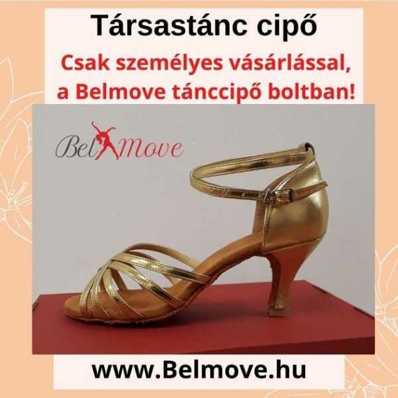 TC13 Belmove Társastánc cipő arany színben 7 cm-es sarokkal