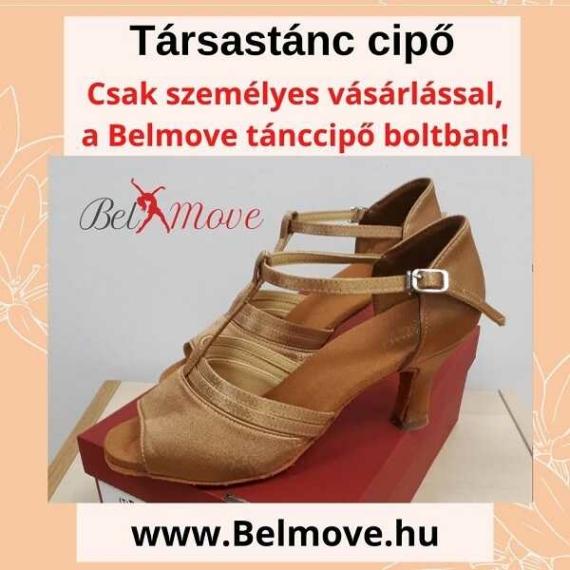 TC15 Belmove Társastánc cipő T pántos, beige színben