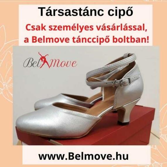 TC18 Belmove Társastánc cipő ezüst színben, bokapánttal