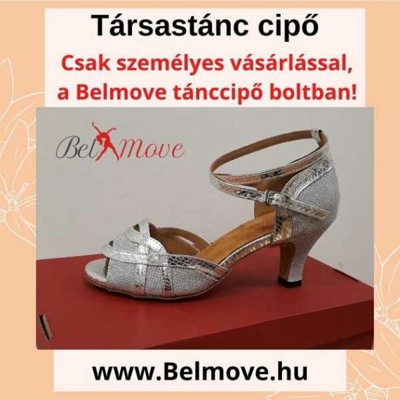 TC3 Belmove Társastánc cipő bokapántos, ezüst színben