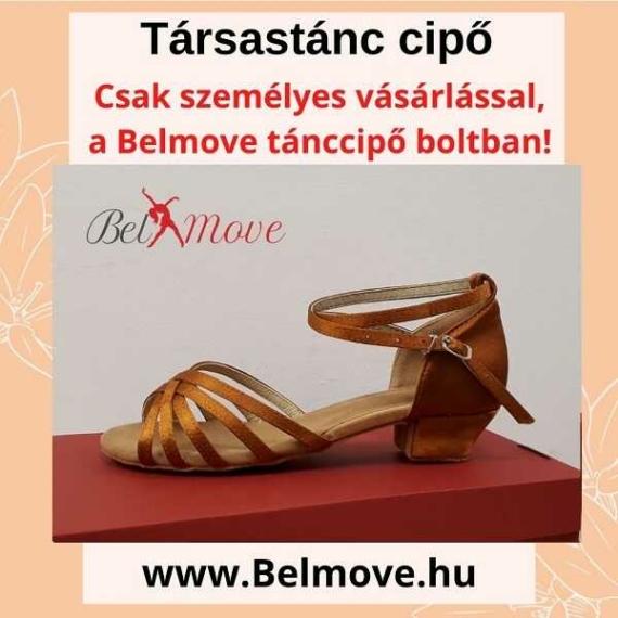 TC6 Belmove Társastánc cipő 3 cm-es sarokkal óarany színben